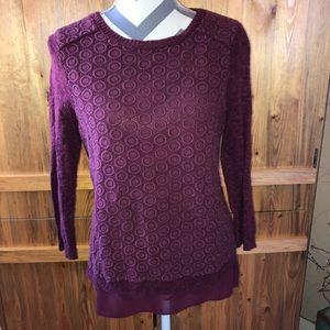 🍀 Lucky Brand Flattering Maroon Blouse Sweater